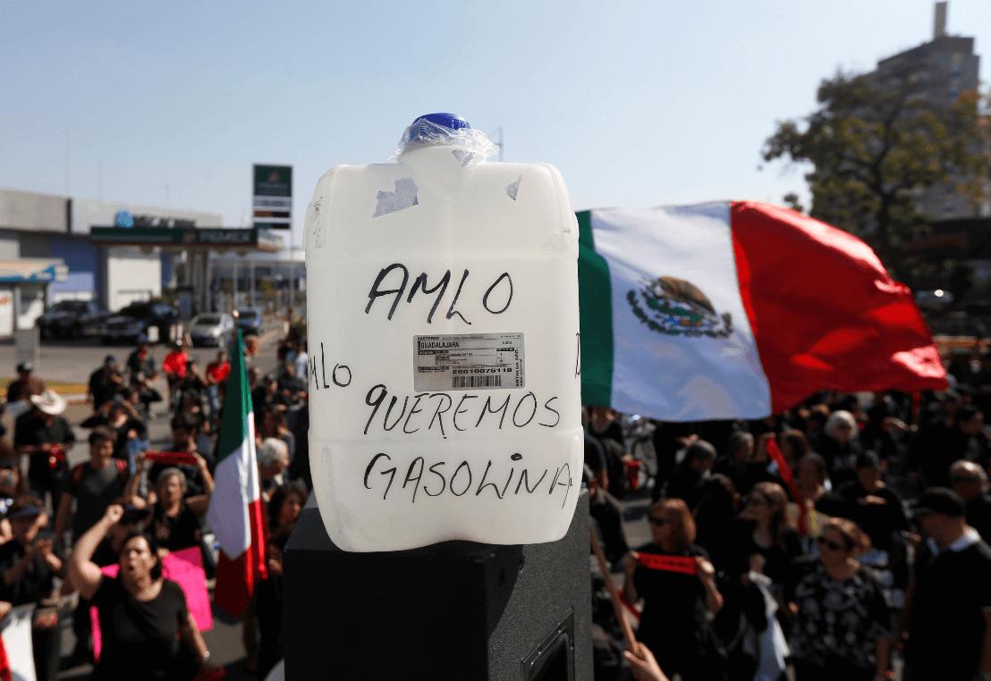 Foto: Protestas contra la escasez de gasolina en Guadalajara, 13 de enero de 2019, México