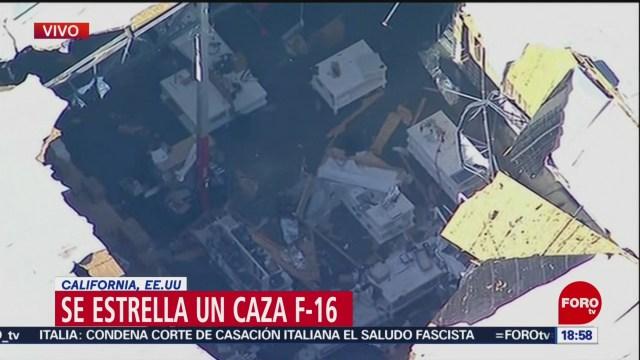 FOTO: Se estrella un Caza F-16 en California