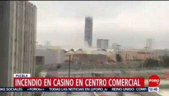 Se registra incendio en Plaza Angelópolis de Puebla