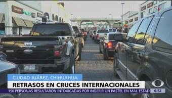 Siguen afectaciones en cruces fronterizos de México hacia EU