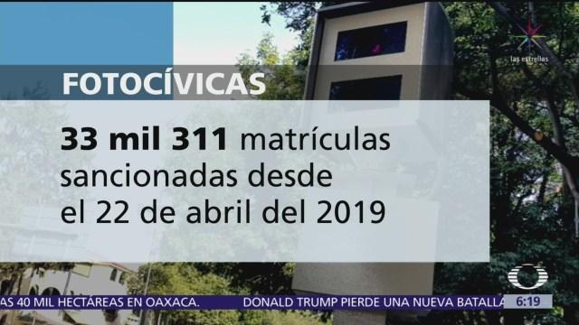 Suman 33 mil 311 matrículas sancionadas con fotocívicas en un mes