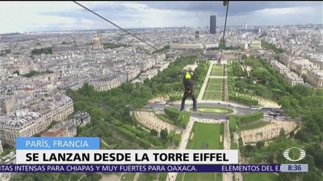 Tirolesa ofrece aventura en la torre Eiffel