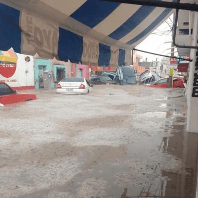 Tormenta en Matehuala, SLP, afectó a cientos de vehículos e inmuebles