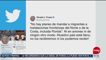 FOTO: Trump reitera que no autorizará transporte aéreo de migrantes, 19 MAYO 2019