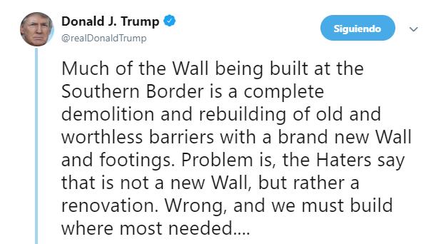 IMAGEN Trump: Sí se está construyendo un nuevo muro (Twitter 22 de mayo 2019 washington)