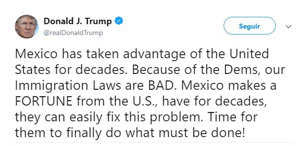 Foto: Tuit de Trump sobre México, 31 de mayo de 2019, Estados Unidos