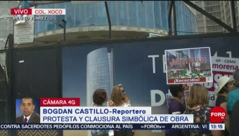 FOTO: Vecinos de Xoco se manifiestan frente a inmobiliaria