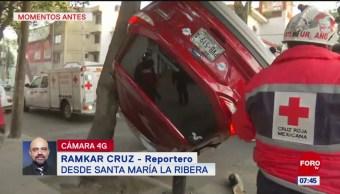 Volcadura de camioneta deja un lesionado en CDMX