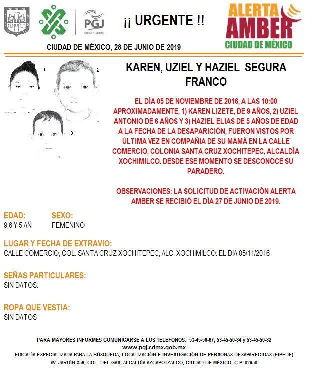 Foto Alerta Amber para tres hermanos extraviados en Xochimilco 28 junio 2019