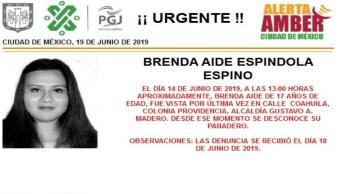 Foto Alerta Amber para localizar a Brenda Aide Espindola Espino 19 junio 2019