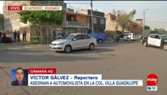 Asesinan a automovilista en colonia Villa Guadalupe, Edomex