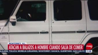 Atacan a balazos a hombre cuando salía de comer en Monterrey, NL