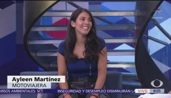 Ayleen Martínez, motoviajera chilena, visita México