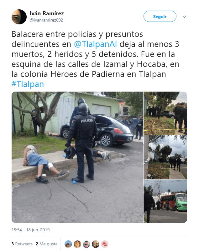 Balacera en Tlalpan deja 2 muertos y varios lesionados