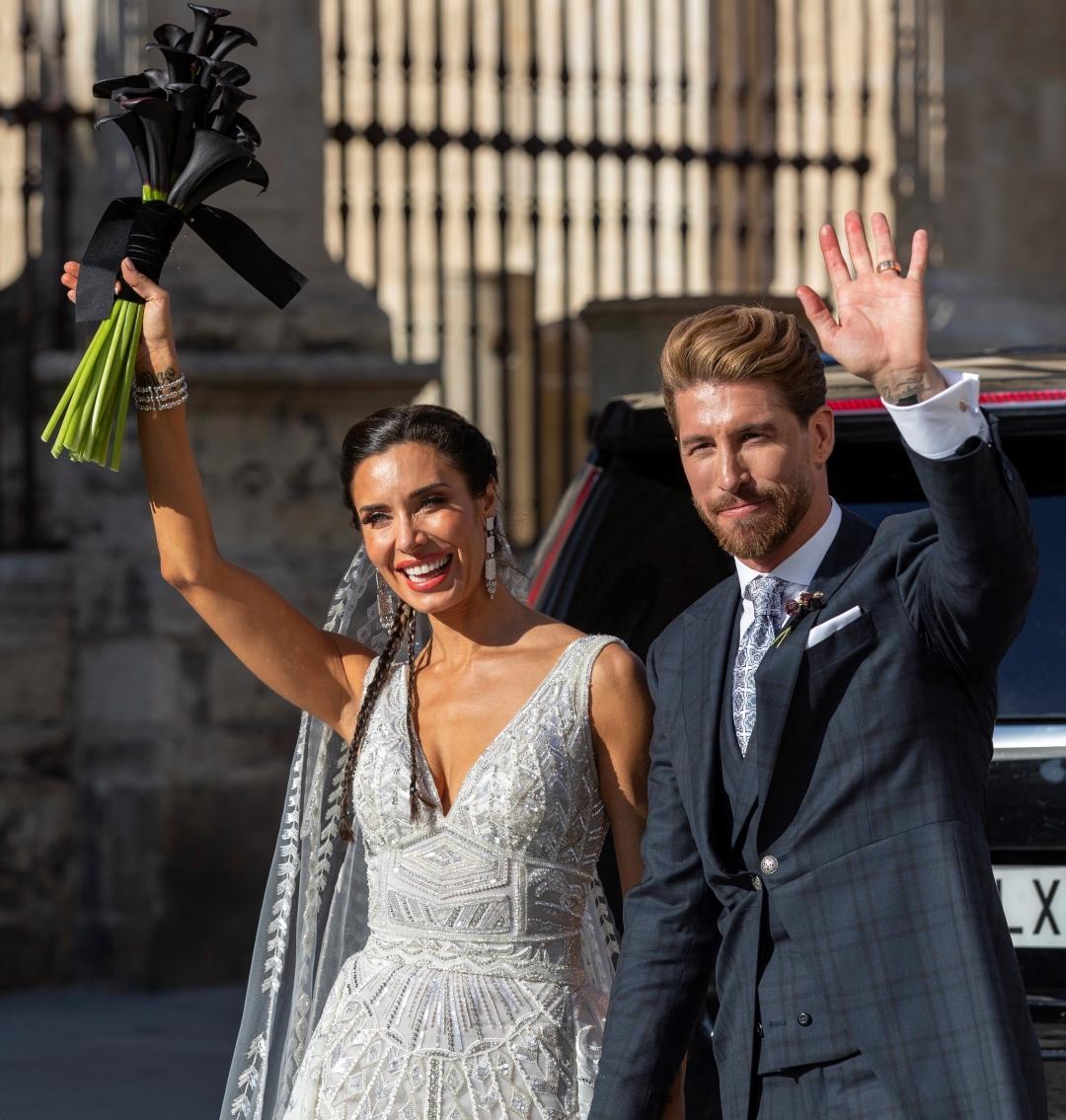 Foto: La presentadora Pilar Rubio y el futbolista Sergio Ramos, a la salida de la Catedral, 15 junio 2019