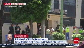 Bomberos sofocan incendio en hotel de la colonia Obrera, CDMX