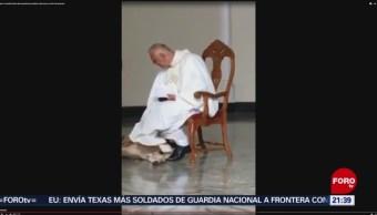 FOTO: Can muerde túnica de religioso en plena misa en Brasil, 23 Junio 2019
