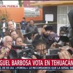 FOTO: Candidato a la gubernatura de Puebla, Miguel Barbosa, emite su voto, 2 Junio 2019