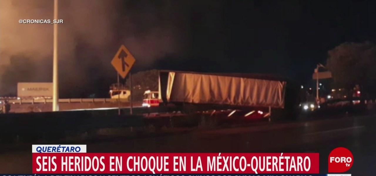 Choque múltiple deja seis heridos en la México-Querétaro