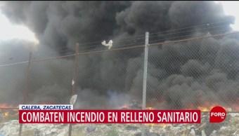 FOTO: Combaten incendio en relleno sanitario en Calera, Zacatecas, 15 Junio 2019