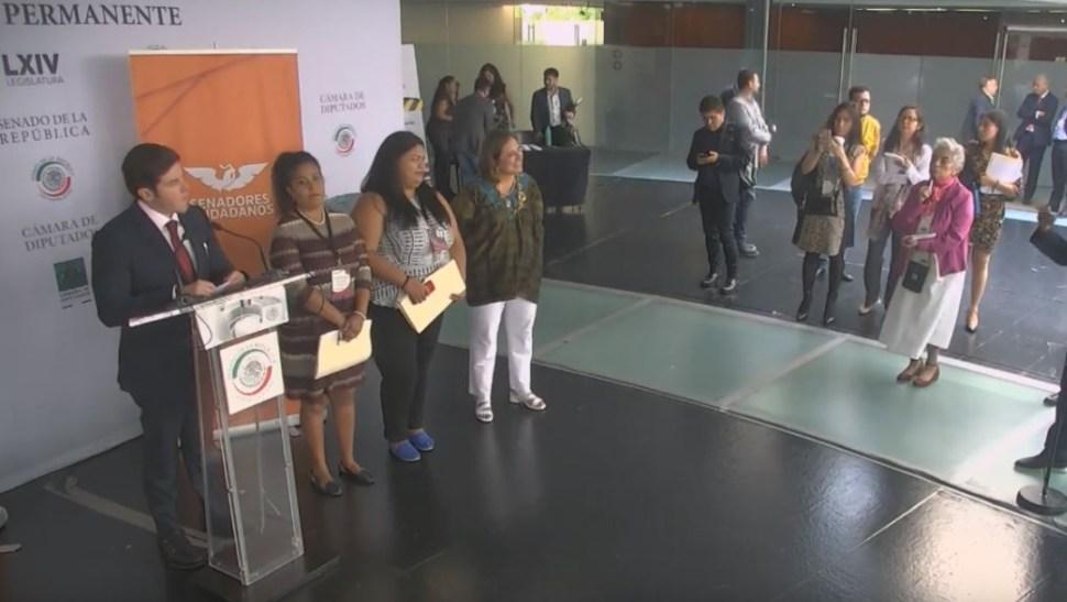 Foto: Los senadores de oposición ofrecen conferencia de prensa para criticar desempeño de la subsecretaria del Bienestar, Ariadna Montiel, el 21 de junio de 2019 (Senado YouTube)