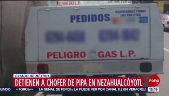 FOTO: Detienen a chofer de pipa en Nezahualcóyotl, Estado de México, 16 Junio 2019