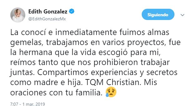 Foto Edith González lamentó la muerte de su amiga y alma gemela, Christian Bach 13 junio 2019