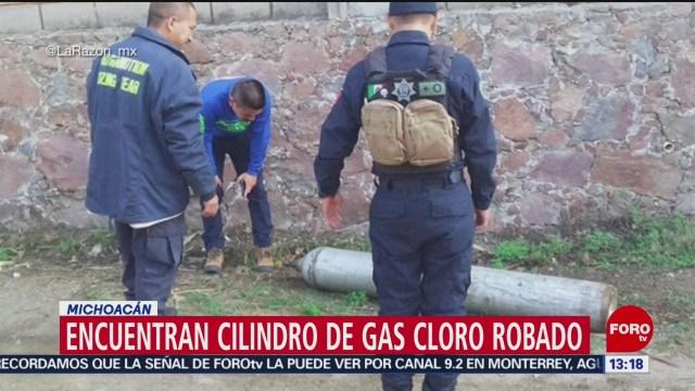 FOTO: Encuentran cilindro de gas cloro robado en Michoacán, 16 Junio 2019