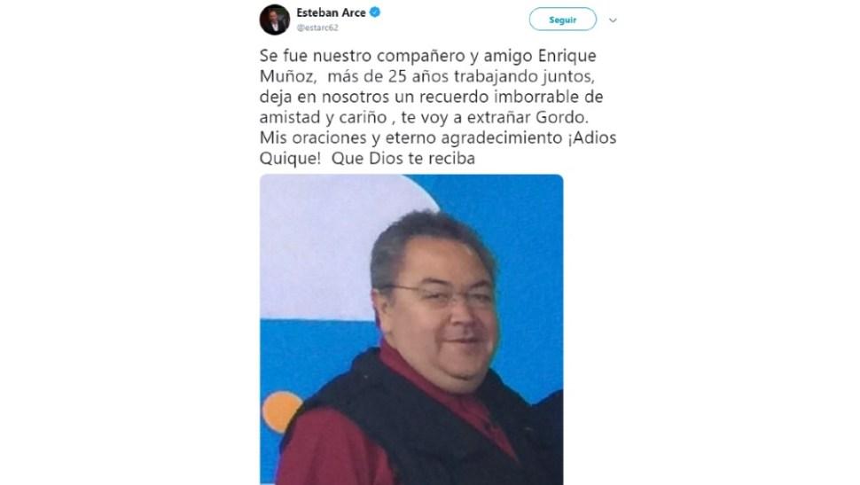 Foto: Esteban Arce dio a conocer la muerte de Enrique Muñoz, 27 de junio de 2019, Ciudad de México