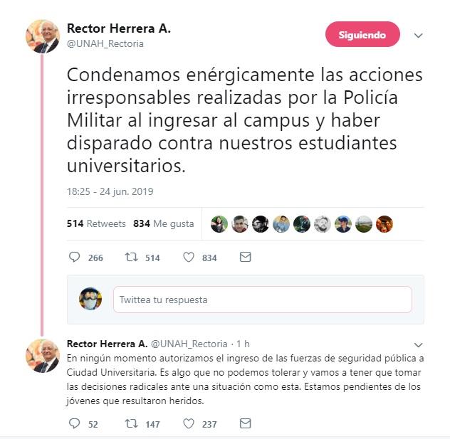 Captura de pantalla en Twitter