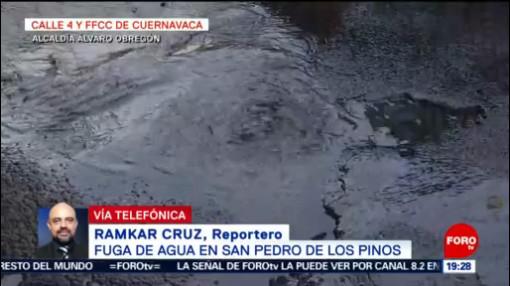 FOTO: Fuga de agua en San Pedro de los Pinos en CDMX, 15 Junio 2019