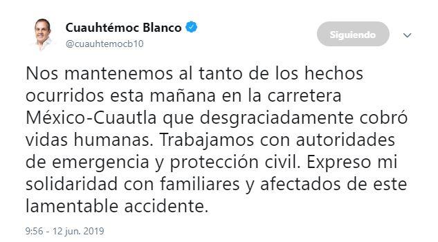 Foto Gobernador Cuauhtémoc Blanco afirma que está al tanto del accidente de un camión en carretera Yecapixtla-Cuautla 12 junio 2019