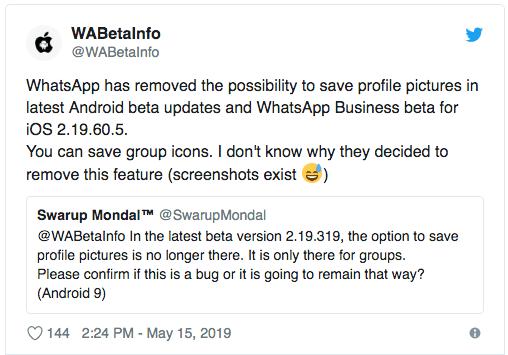 Foto WhatsApp te impedirá guardar las fotos de perfil de tus contactos 13 junio 2019