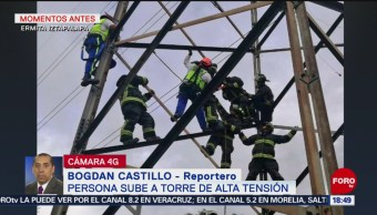 FOTO: Hombre escala torre de alta tensión en Iztapalapa
