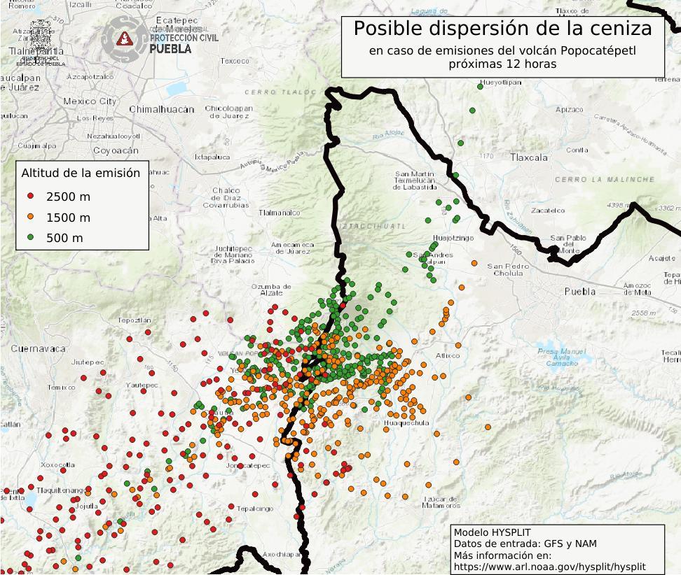Foto Imagen de la posible dispersión de ceniza volcánica del Popocatépetl 17 junio 2019