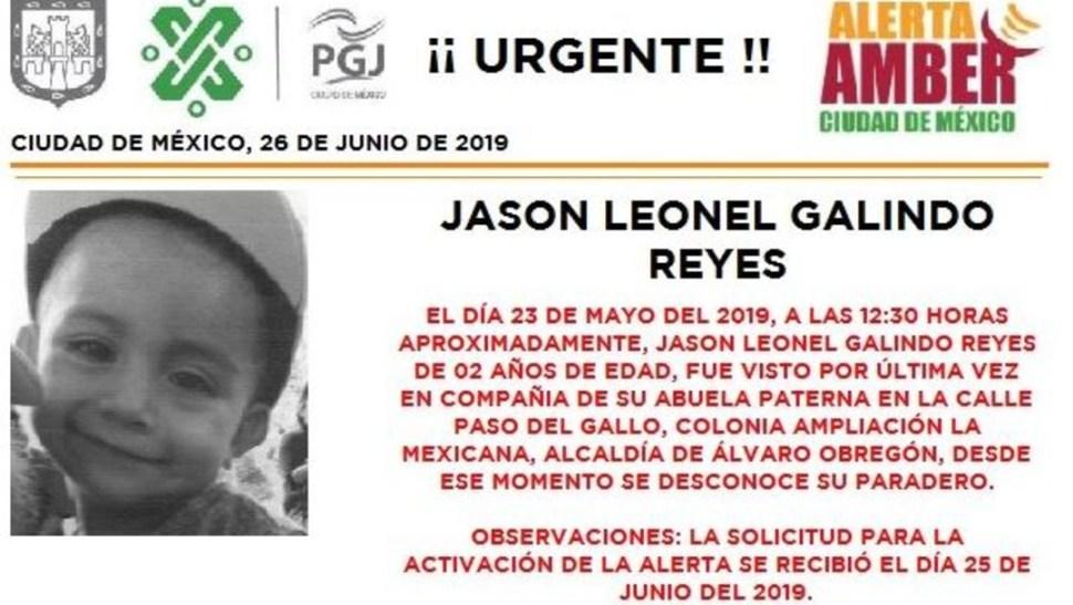 Activan la alerta amber para localizar a Jason Leonel Galindo Reyes, de 2 años. (@PGJDF_CDMX)