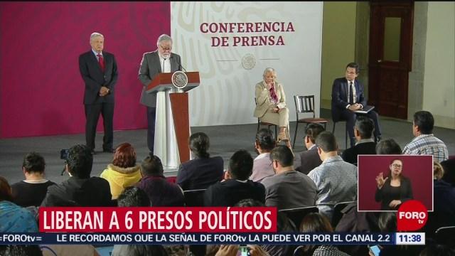 Liberan a seis presos políticos, anuncia Alejandro Encinas