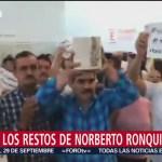 Llegan restos del estudiante Norberto Ronquillo a Chihuahua
