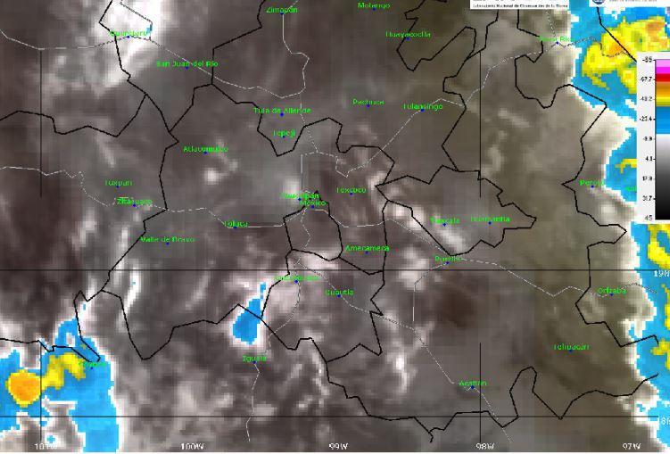 Foto: La imagen de satélite muestra cielo nublado en el centro del país, 2 junio 2019
