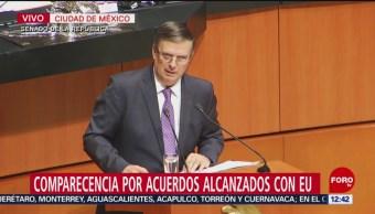 Marcelo Ebrard comparece ante Senado y expone plan de control migratorio