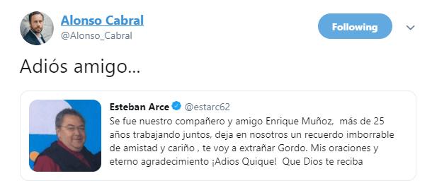IMAGEN Muere Enrique Muñoz, colaborador de Matutino Express y Expreso de la Mañana. (Twitter @Alonso_Cabral)