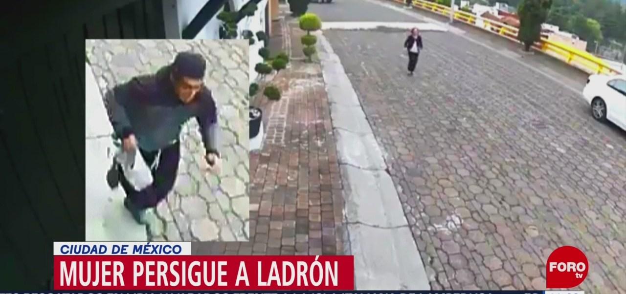 Mujer de la tercera edad persigue a ladrón en la Ciudad de México