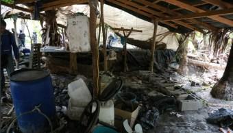 Foto: narcolaboratorio clandestino en Culiacán, 6 d ejunio 2019. Twitter @sspsinaloa1