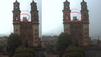 Rayo destruye cruz en cúpula de iglesia de Taxco, Guerrero