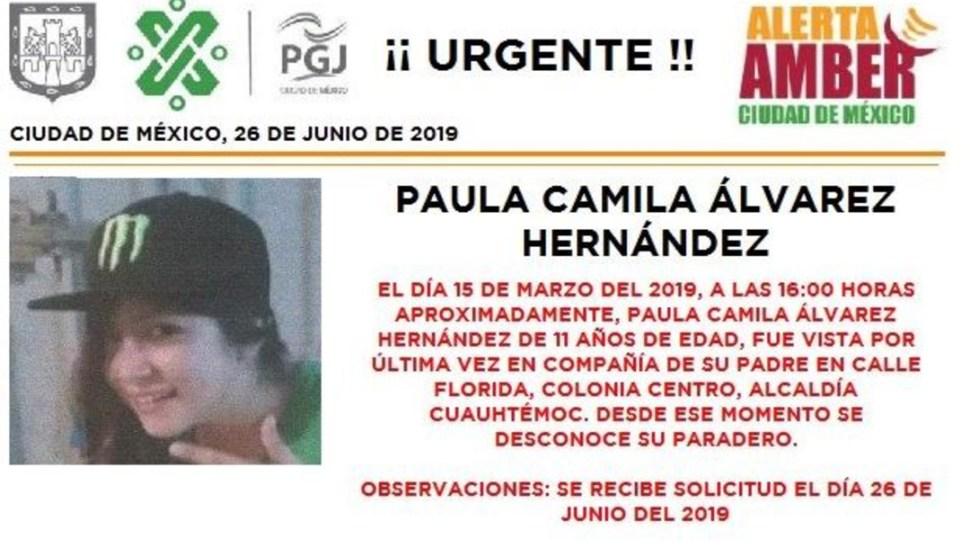 Activan la alerta amber para localizar a Paula Camila Álvarez, de 11 años. (@PGJDF_CDMX)