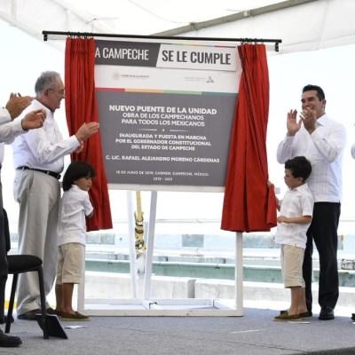 Inauguran 'Puente la Unidad' en Campeche, el segundo más largo del país