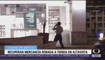 Recuperan mercancía robada a tienda en Altavista
