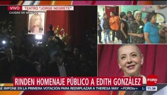 Rinden homenaje público a Edith González en Teatro Jorge Negrete