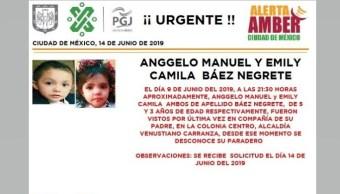 Foto Alerta Amber para localizar a Anggelo Manuel y Emily Camila Báez Negrete 14 junio 2019