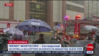 FOTO: Se estrella helicóptero en edificio de Manhattan